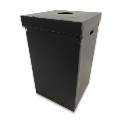 Disposable Trash Container Black w/Multi-Function Lid (Pack of 10)