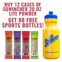 12 Cases Sqwincher LITE Low Calorie Hydration Drink 20 Oz Sticks & 80 FREE Sports Bottles (Pricing is per case)