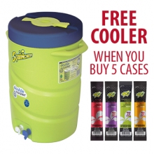 Buy 5 Cases Sqwincher ZERO SUGAR FREE - 2.5 Gallon Packs & FREE Double Cooler on sale online