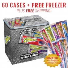 Buy 60 cs Sqwincher Sqweeze & FREE 7 Cubic ft Freezer FREE SHIPPING (Pricing is per case) on sale online